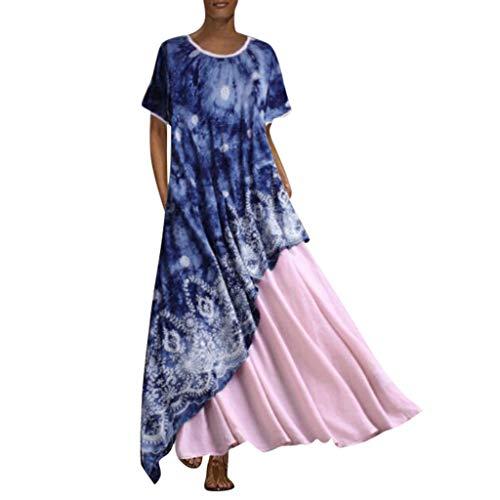 (Dressin Bohe Dress,Women Vintage Splicing Floral Sleeveless Dress Long Maxi Dresses)
