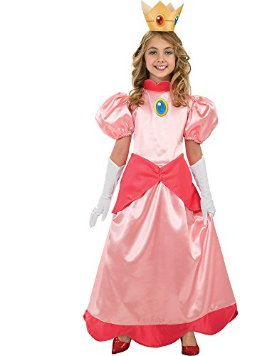 Nintendo Super Mario Brothers Princess Peach Deluxe Girls Costume, Medium/7-8]()