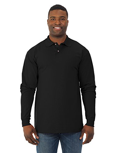 Jerzees Mens SpotShield Long Sleeve Jersey Sport Shirt, JZ437MLR, 2X, Black