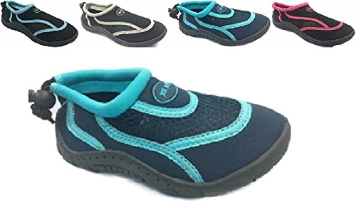 Ladies Womens Waterproof Water Shoes Aqua Socks Beach Pool Yoga Exercise Navy/Aqua 9