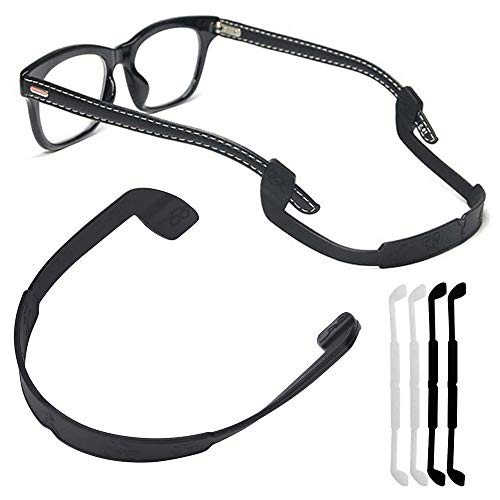 Silicone Eyeglass Strap Eyewear Retainers Sports Anti-slip Elastic Glasses Sunglass Cord Holder for Men Women Eye Protection (4Pcs/Pack[Black X 2, White X 2])