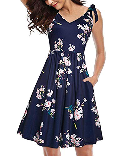 - casuress Women Dress Summer V Neck Floral Print Swing Dress Sleeveless Strap Dresses with Belt Navy Blue