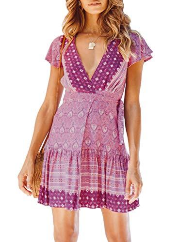 ZESICA Women's Summer Wrap V Neck Bohemian Floral Print Ruffle Swing A Line Beach Mini Dress Lavender Cap Sleeve Print Wrap Dress