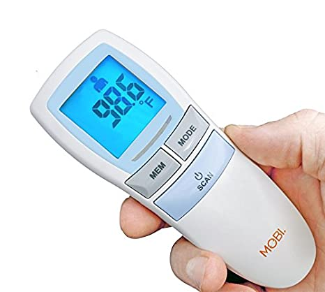 MOBI Dual Scan Air Non-Contact Digital Forehead/Room / Bath Water/Baby Food Thermometer 70118