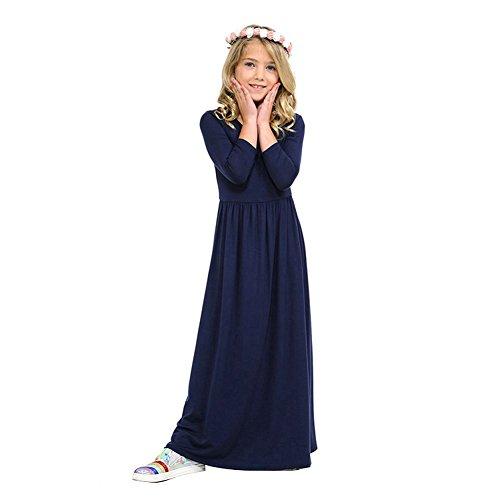 Baby Girls Maxi 3/4 Sleeve Casual T-Shirt Dress Up Loose Fit Flare Full Length Lyrical Dance Costume Worship Long Dancewear Navy Blue 1-2 Years -
