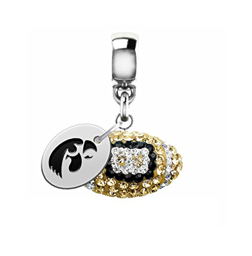 Iowa Hawkeyes Crystal Football Drop Charm Fits All European Style Charm Bracelets -