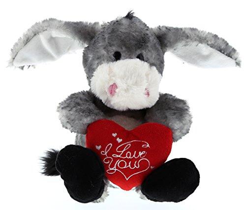 "DolliBu Cute Stylish Sitting Grey Donkey ""I Love You"" Heart Message Valentines Soft Plush Cushy Doll Huggable Decorative Stuffed Toy Animal for Kids Toddlers Boys Girls 6 ()"