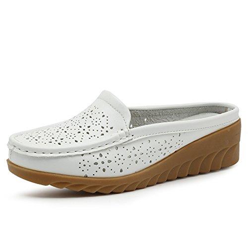 Enllerviid Femmes Fermé Orteils En Cuir Maison Pantoufle Confort Intérieur  Extérieur Pantoufles Pantoufles Chaussures 8803-