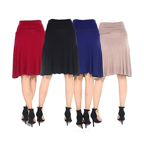 4 Pack of Women's Midi A-Line Basic Skirts – Solid with Fold Over Waist Band Flare Design 16
