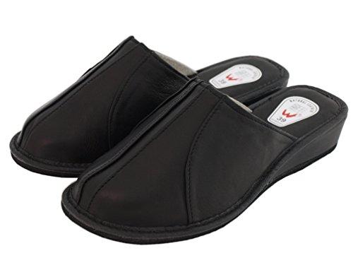 Natleat Slippers Womens Slippers Mules 33 - Zapatillas de estar por casa de Piel para mujer Negro negro Negro - Black / 2