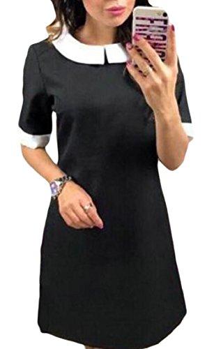 Jaycargogo Peter Col Pan-dessus Du Genou Femmes Une Ligne Mini-robe Noire