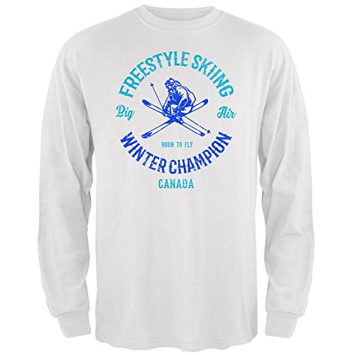 le Skiing Champion Canada Mens Long Sleeve T Shirt White X-LG ()