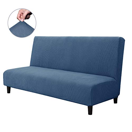 CHUN YI Armless Sofa Slipcover Elastic Fitted Full Folding Sofa Bed Cover Without Armrests,Removable Machine Washable Non-Slip Furniture Protector for Futon Couch Bench (Sofa, Denim Blue)