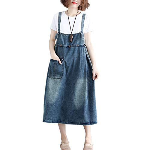 Flygo Women's Loose Denim Jeans Pinafore Overall Dress A Line Midi Long Suspander Skirt (US 14-16, Navy Blue)