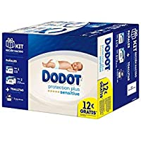Dodot Protection Plus Sensitive Kit Recién Nacido (28 x Talla 1 + 68 x Talla 2 + 54 Toallitas Sensitive)