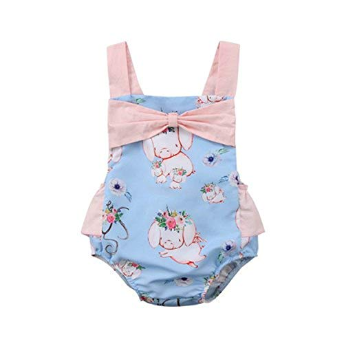 Floral Pig (Jinbaolong Sale Floral Pig Cute Newborn Baby Girl Romper Summer Sleeveless Backless Cartoon Animal Print Ruffles Bow Kids Jumpsuit Sunsuit)
