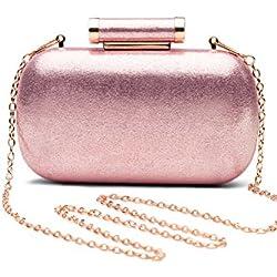 Women Clutch Box Purse Hard Case Evening Bag Glitter Handbag With Chain Strap (pink)