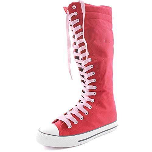DailyShoes Women's Canvas Mid Calf Tall Boots Casual Sneaker
