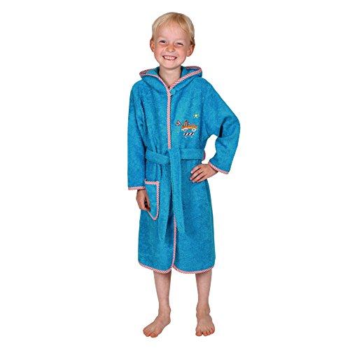 Betz Kinder Bademantel Kinderbademantel mit Kapuze Stickerei Lastwagen Farbe Blau Größen 74/80 - 110/116 100% Baumwolle Größe 110/116
