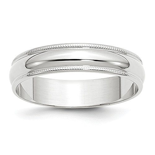 Solid 10k White Gold 5mm Milgrain Half Round Wedding Band Size 9 by Sonia Jewels