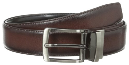 Perry Ellis Men's Burnished Edge Belt, Brown, 32 (Perry Ellis Brown Belt)