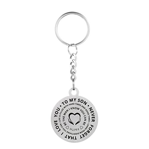 (Inspirational Love Gift To My Son Never Forget That I Love You Stainless Steel Dog Tag Pendant Necklace Keychain Be The Man You Can Be)