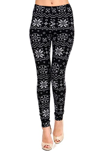 VIV Collection Plus Size Printed Brushed Ultra Soft Christmas Leggings (White Snowflake)