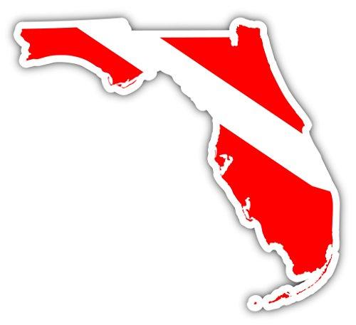 (Florida State Shaped Scuba Diver Scuba Diving Dive Down Flag Bumper Sticker Decal Car Window Stickers 4x5)