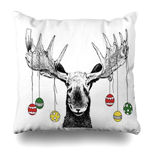 Decor.Gifts Throw Pillow Covers Abstract Funny Christmas Moose Hand Winter Scene Big Comic Face Cute Humorous Tree Hanging Wildlife Cushion Case Square Size 20 x 20 Inches Home Decor Pillowcase