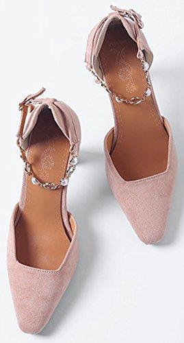 Idifu Kvinna Mode Ankelbandet Låg Topp Spetsig Tå Faux Mocka Haute Chunky Klackar Sandaler Rosa