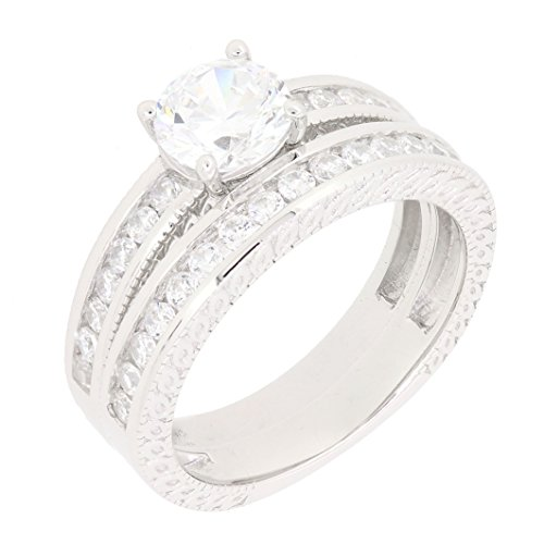 Sterling Silver 2 Pieces Round Brilliant CZ Bridal Engagement Wedding Ring Set (1 3/4 CT)