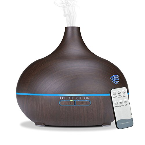Sekway Remote Control Essential Oil Diffuser – 550 mL Wood Grain Ultrasonic Aroma Cool Mis ...