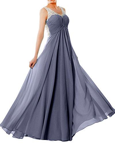 Women EveningBall Prom Lace Chiffon Long Gown Blue Formal Straps Dress V Neck MACloth Steel dqSad