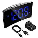 Alarm Clocks, PICTEK Digital Alarm Clock with 5-inch Dimmable LED Curved Screen, Kids Clock Digital Timer with Snooze Function, 12/24 Hour, USB Port and Battery Backup for Bedroom Livingroom Office (Adapter Included)