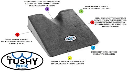car seat cushion pillow coccyx wedge memory foam by dr tushy. Black Bedroom Furniture Sets. Home Design Ideas
