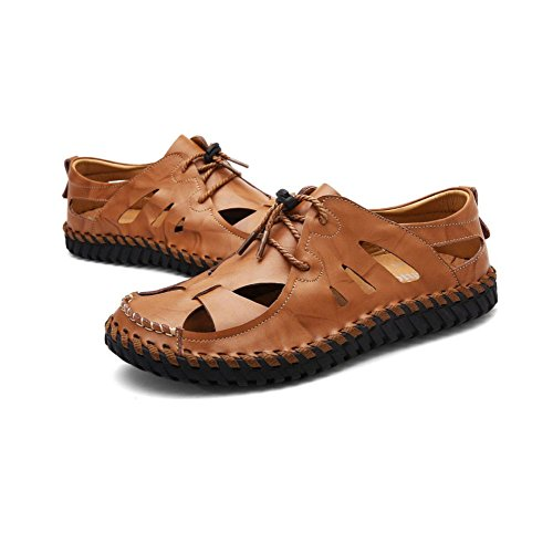 Men's Brown Leather Closed-Toe Sandals Walking Sandals Outdoor Hiking Trekking Shoes Brown fb1AMCvlwn