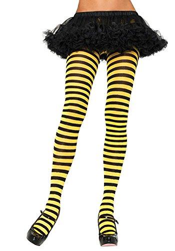 Black Yellow Stripe Tights Hosiery Fancy Dress Halloween Costume School Geek Nerd Witch Plus Size Bumble Bee -