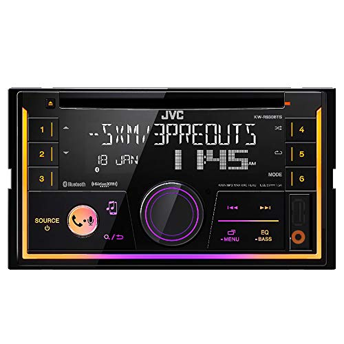 JVC KWR930BT Car Stereo - Double Din, Bluetooth, CD,MP3/USB AM/FM Radio, Multi Color - Car Receiver Cd Stereo