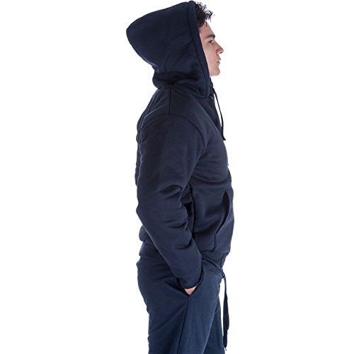Leehanton Men's Full Zip Heavyweight Sherpa-Lined Fleece Hoodie Jackets Navy M