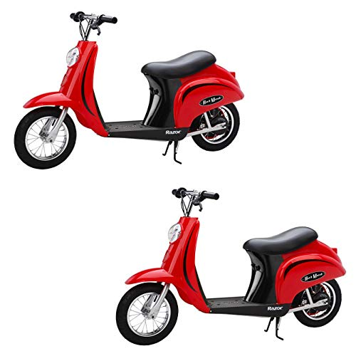 Razor Pocket Mod Miniature Euro 24 Volt Electric Retro Scooter, Red (2 Pack) (Razor Pocket Mod 24v Electric Scooter Red)