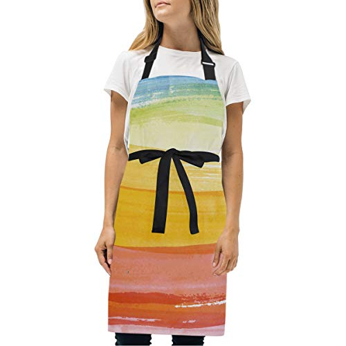- abcffaaQ Adjustable Neck Apron with Pocket & Extra-Long Ties, Men and Women Kitchen Apron for Cooking, Baking, Crafting, Gardening, BBQ - Rainbow Colorful Wallpaper