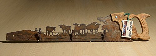 Calves and Fence design Rustic custom cut handsaw | Wall Decor | Western Metal Art | Garden Art | Made to Order for ()