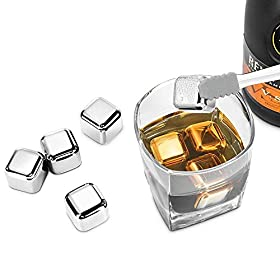 Metal Ice Cubes, Synerky Reusable Ice Cubes (8 PCS) Stainless Steel Whiskey Stones for Non-diluting Cooling Vodka, Whiskey, Beer, Wine, Beverage (FDA Approved, Storage Tray Silicone Tip Tong included)