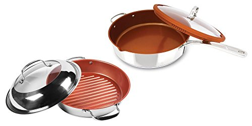 Nuwave 11 Inch Stainless Steel Grill Pan With Lid Plus