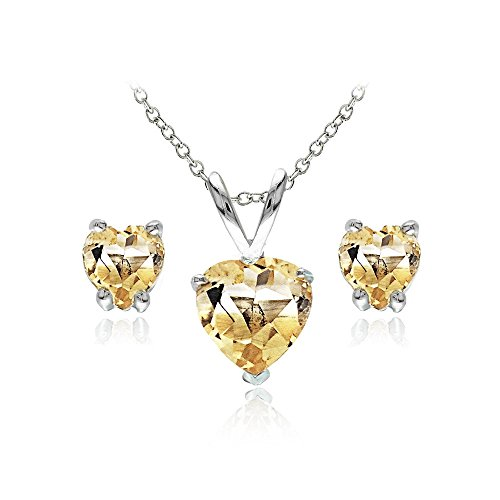 GemStar USA Sterling Silver Citrine Heart Solitaire Necklace and Stud Earrings Set