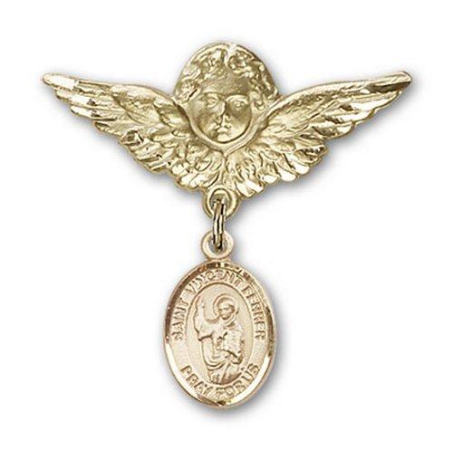 Icecarats Or Bijoux De Créateurs Rempli R. Vincent Ferrier Charme Ange Broche De Badge 1 1/8 X 1 1/8