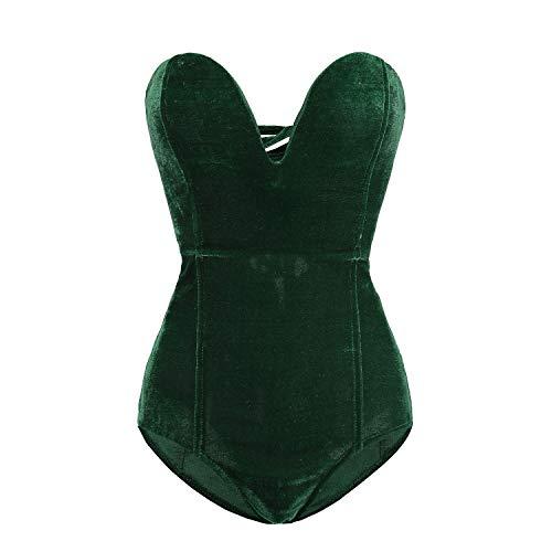 Clothink Women Strapless Velvet Bodysuit Back Lace Up Jumpsuit]()