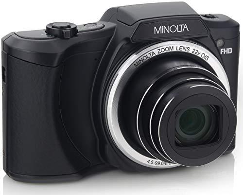 Minolta 20 Mega Pixels Wi-Fi Digital Camera with 22x Optical Zoom, 1080p HD Video & 3″ LCD, Black (MN22Z-BK)