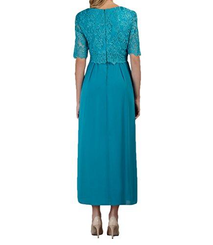 Abendkleider Brautmutterkleider Spitze Jugendweihe Blau Rock Dunkel Kleider Damen Glamour Charmant A Linie Tuerkis Langarm gw8XRUq