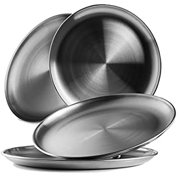Reusable Brushed Metal 18/8 Dinner Plates- Vintage Quality 304 Stainless Steel Silver Color Heavy Duty Kitchenware Round Metal 9 Inch Plates   Dishwasher Safe   BPA Free  Use for BBQ Steak (4 Pack)